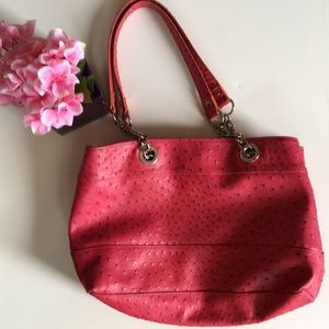 Faux Ostrich Leather bag pink